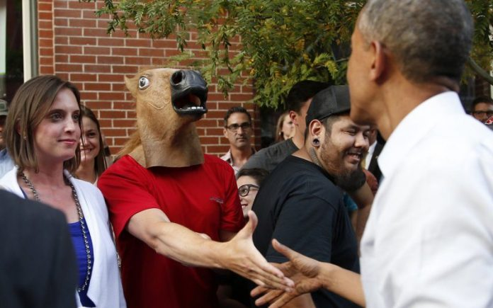 Horse head guy meets obama