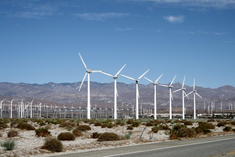 Windmills outside of Palm Springs because of strong winds in the desert