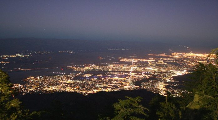 The view of the Coachella Valley at night from the Palm Springs Tram