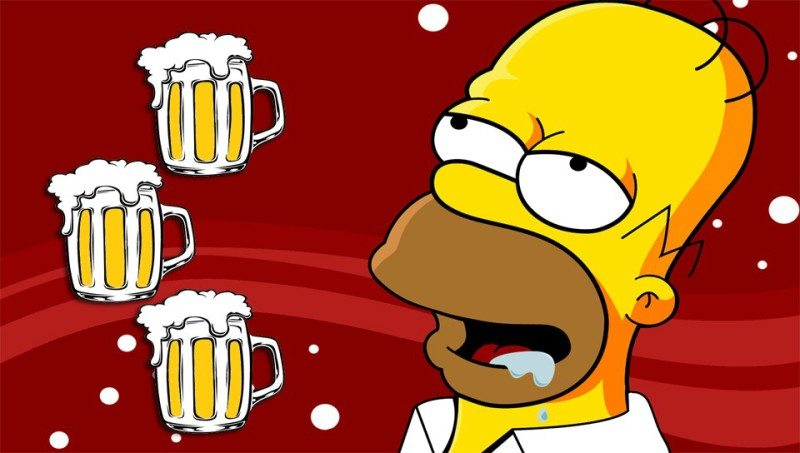 Homer Simpson thinks about beer in a screengrab from the show