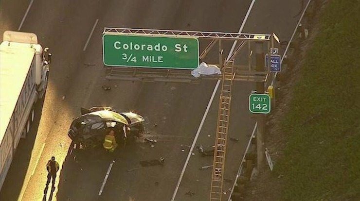 Man ejected onto I-5 freeway sign in fatal L A  crash | Cactus Hugs