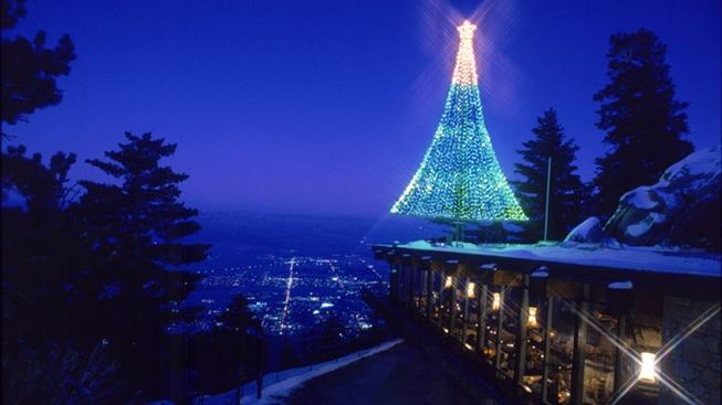 A Christmas tree lit during the holidays at the Palm Springs Tram