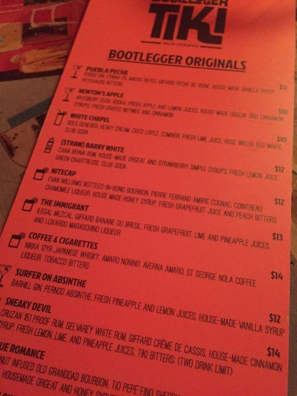 The cocktail menu at Bootlegger Tiki, Palm Springs, California