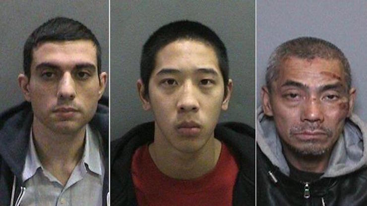Hossein Nayeri, Jonathan Tieu, and Bac Duong, 43, in undated mugshots. (KABC)