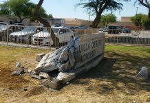 Cahuilla Desert Academy smashed sign