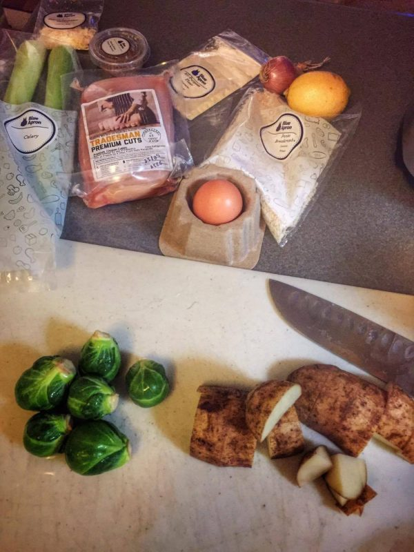 Crispy Chicken Milanese with Warm Brussels Sprout & Potato Salad ingredients Blue Apron