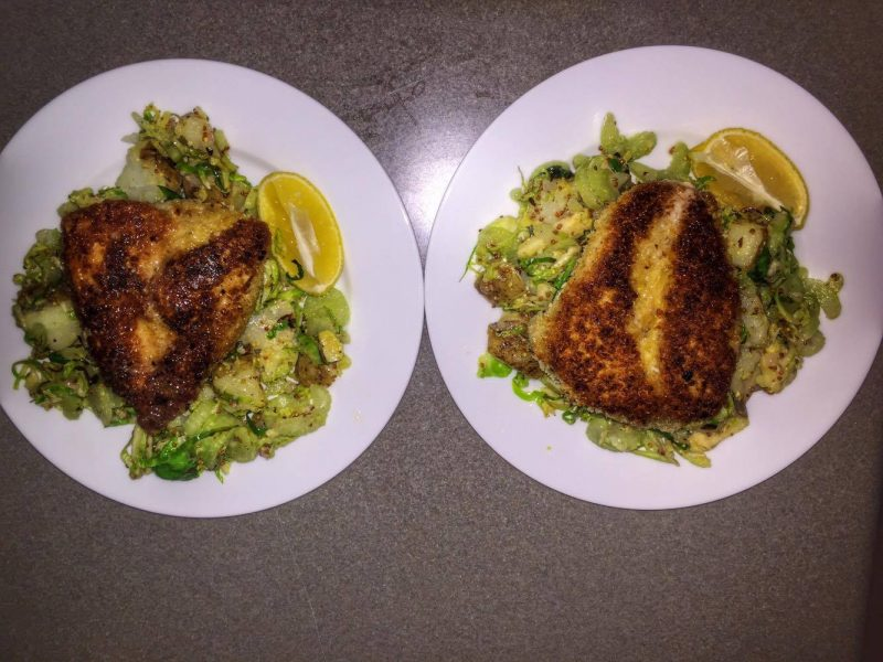 Crispy Chicken Milanese with Warm Brussels Sprout & Potato Salad finished