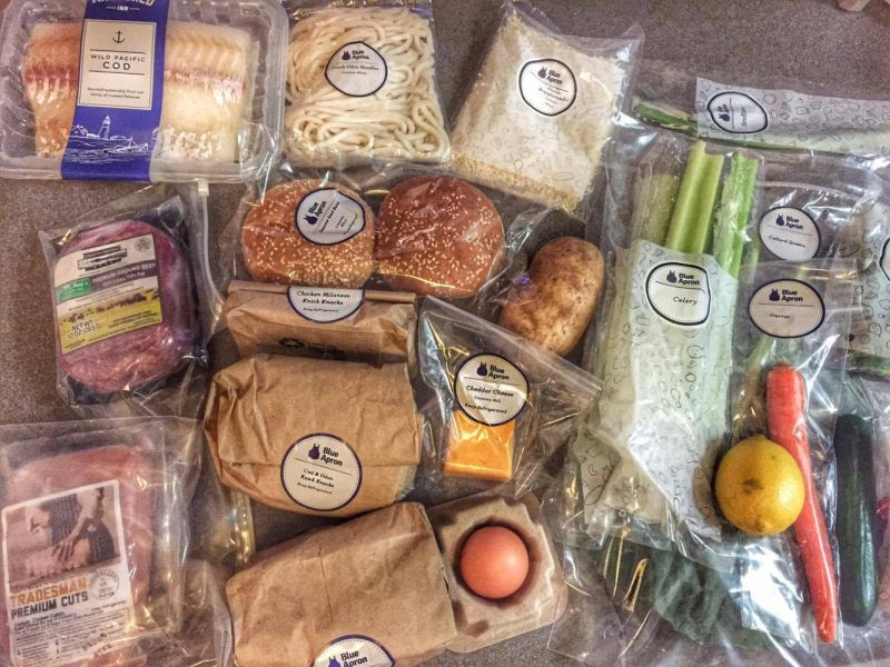 Blue Apron opened box full of ingredients