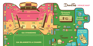 A map of the Desert Trip Music Festival in indio