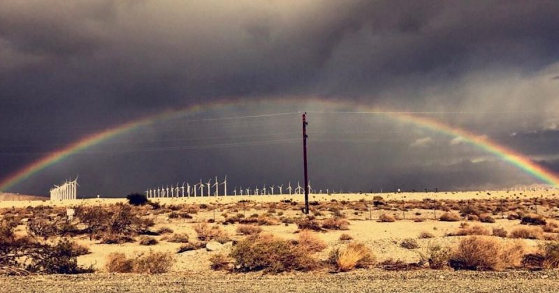 A rainbow in the desert - just another amazing Palm Springs weather day