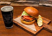 A hamburger and beer at Babe's in Rancho Mirage