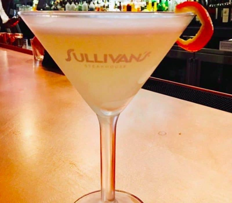 A martini served at the bar during Happy Hour at Sullivan's steakhouse in Palm Desert