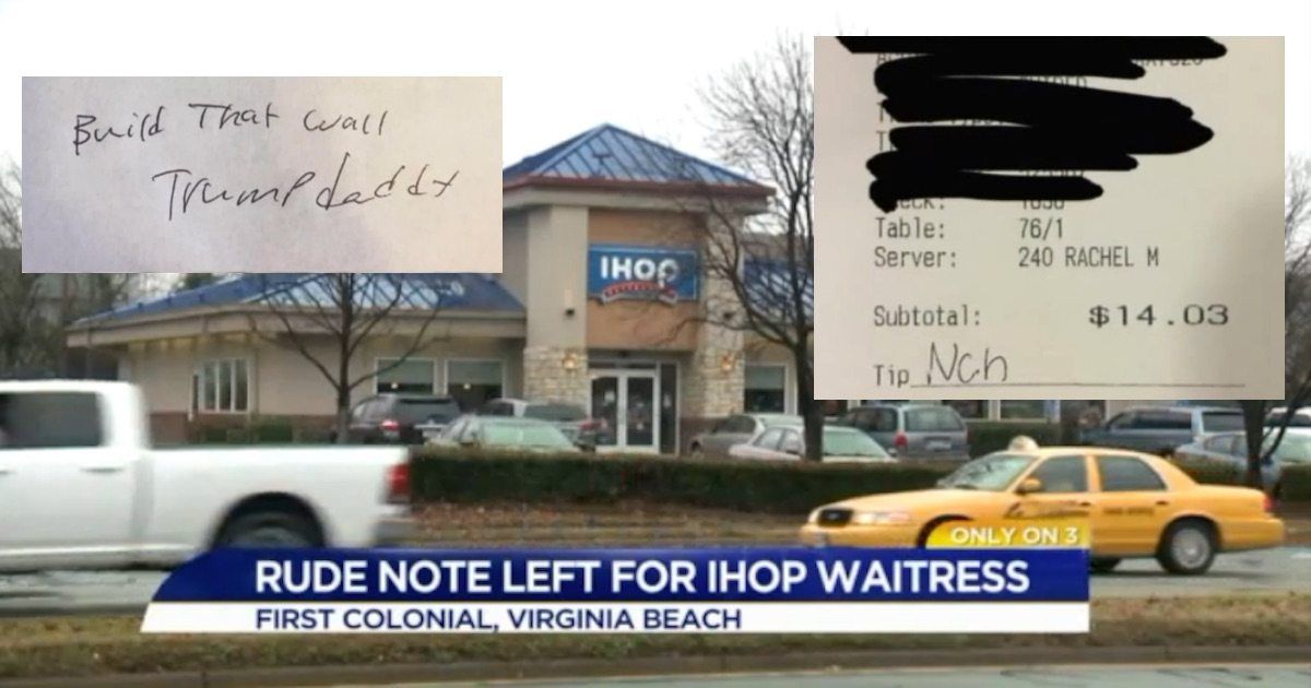 IHOP customers leave 'Build that wall, Trump Daddy ' note
