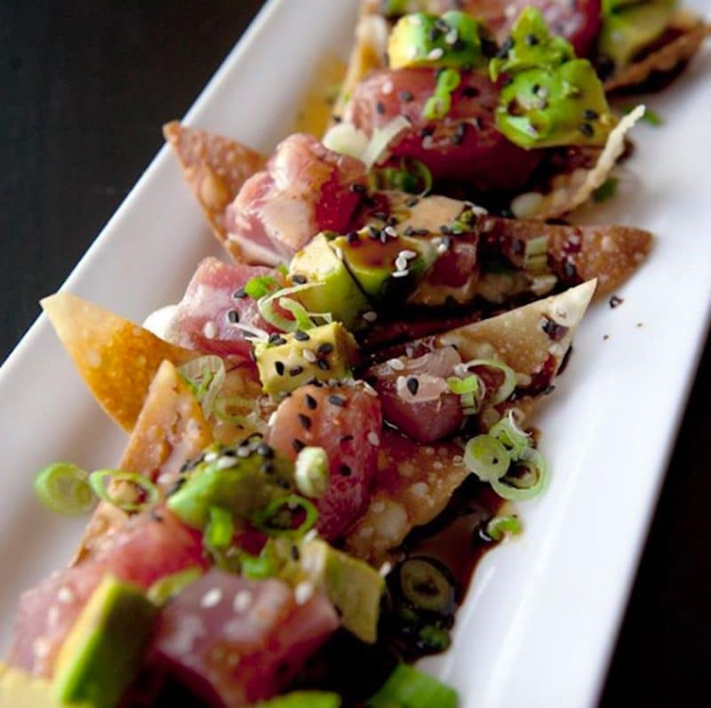 Ahi Sesame Poke Nachos from Cork and Fork during Happy Hour in La Quinta, California