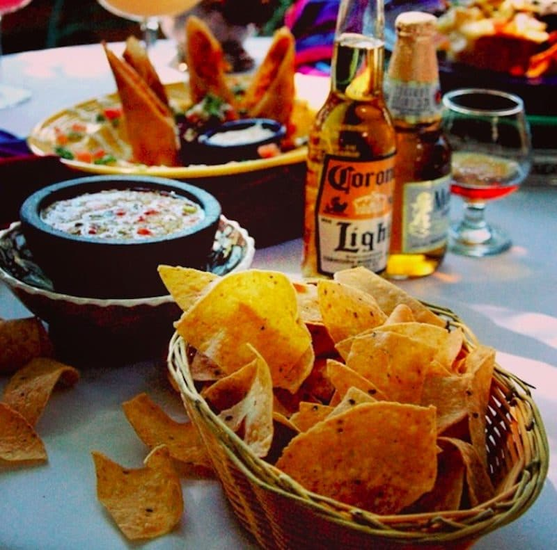 Chips & salsa, beer, and chicken flautas at Happy Hour at the bar at Las Casuelas Nuevas in Rancho Mirage
