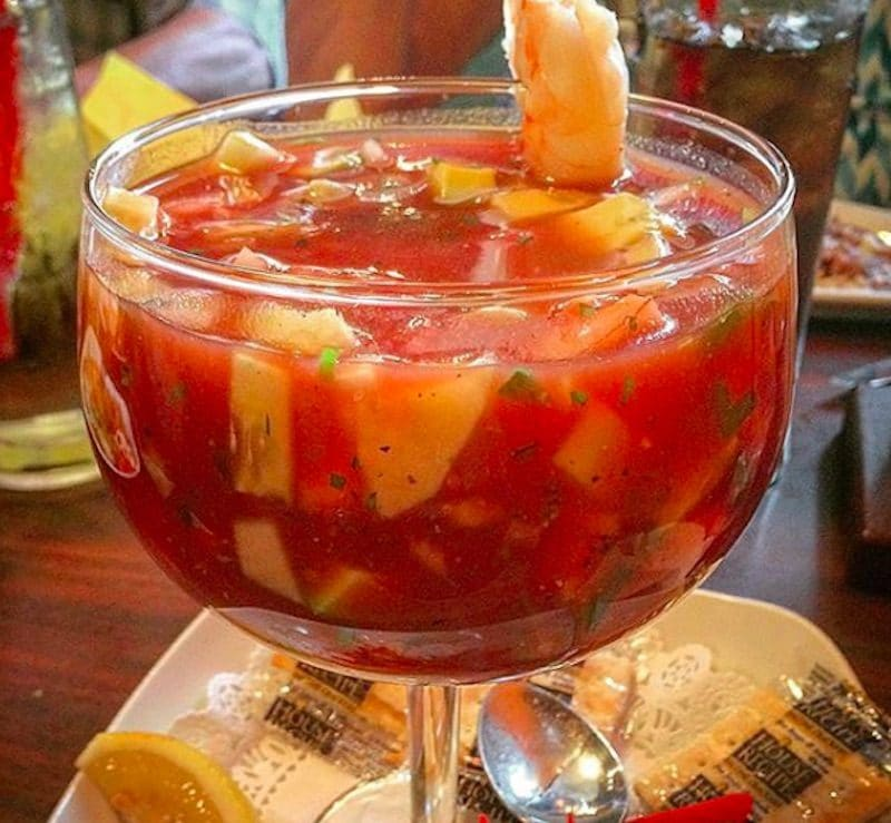A shrimp cocktail served during Happy Hour at Maraca's Cantina in Rancho Mirage, California