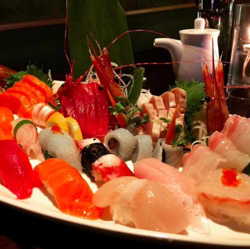 A platter of sushi from Okura Sushi served during Happy Hour at the La Quinta restaurant