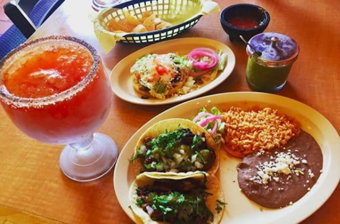 Tacos, rice, and beans at El Rodeo Cafe in Palm Desert, California