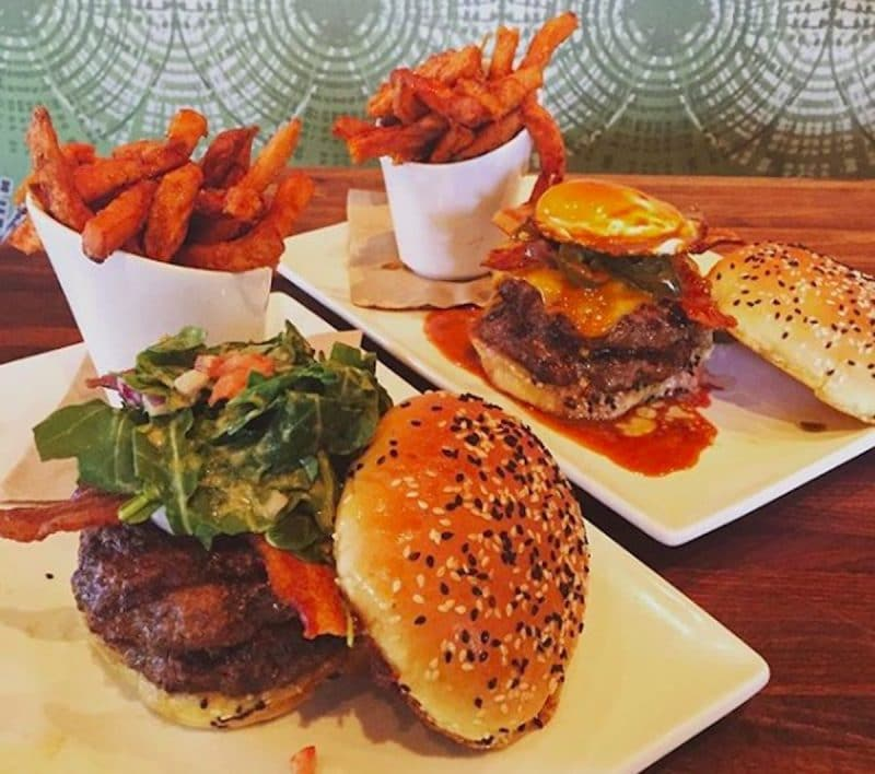 A couple of hamburgers served at Eureka! in Indian Wells, California