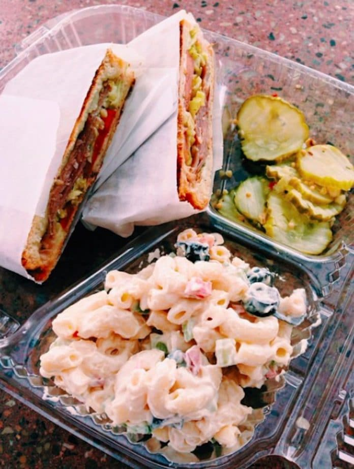 A sandwich and side from Jensen's Minute Shop in Palm Desert, California