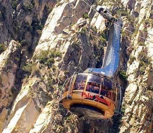 The Palm Springs Tram heads up to the mountain station
