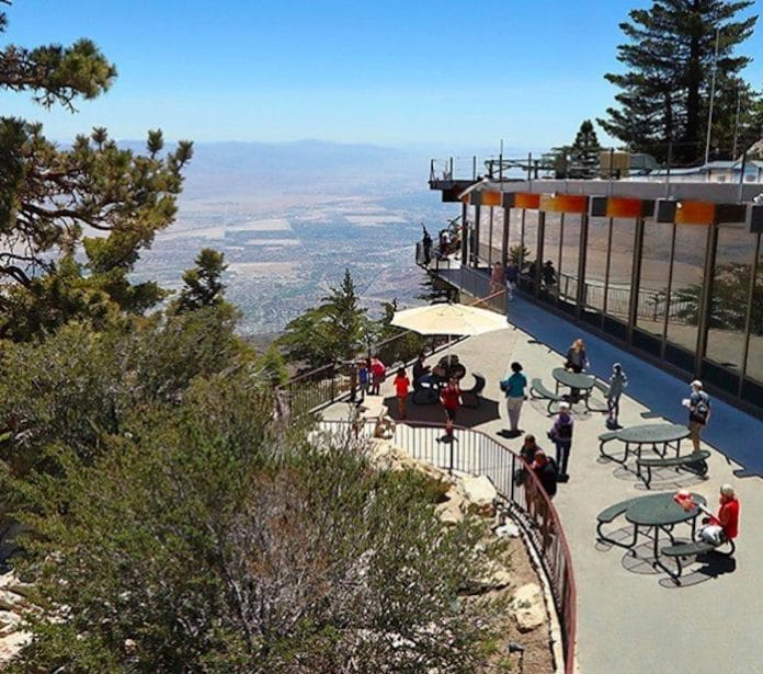 the patio at the Palm Springs Tramway Mountain Station