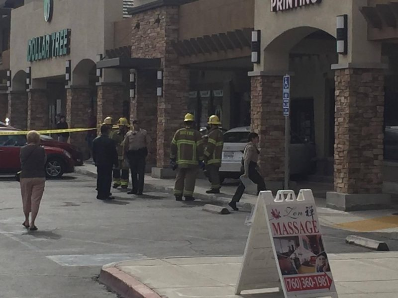 A car crashes into a postal store in Palm Desert