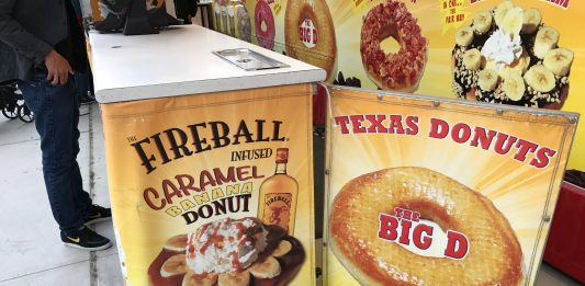 A Fireball Whiskey Caramel Banana Donut is available at the Date Festival