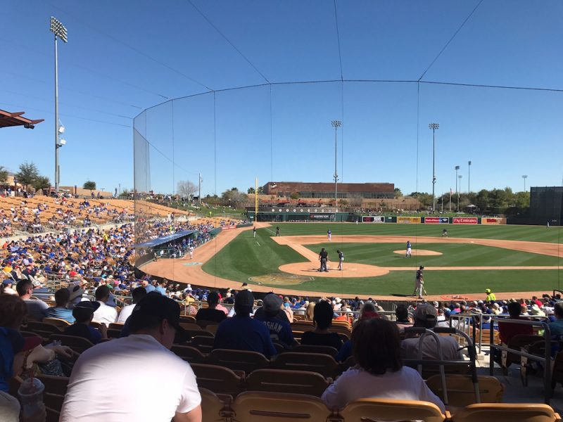 The view from the 1st base side during Dodgers Spring Training at Camelback Ranch in Arizona