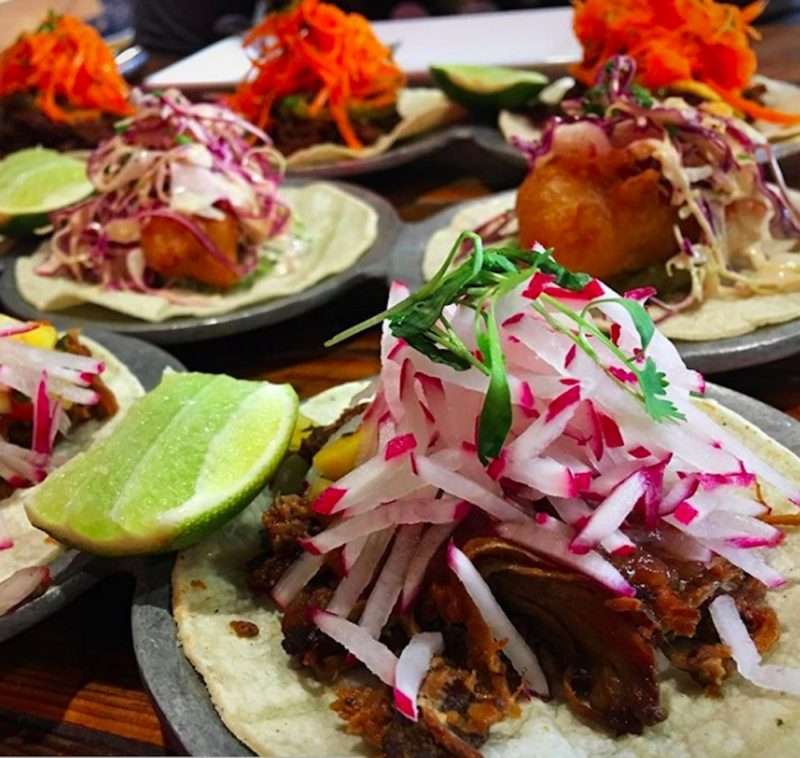 Tacos served during happy hour at El Jefe in the Saguaro Hotel in Palm Springs