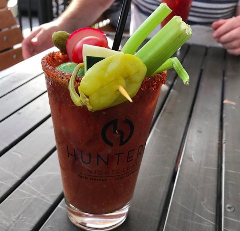 A Bloody Mary served at the bar at Hunter's in Palm Springs