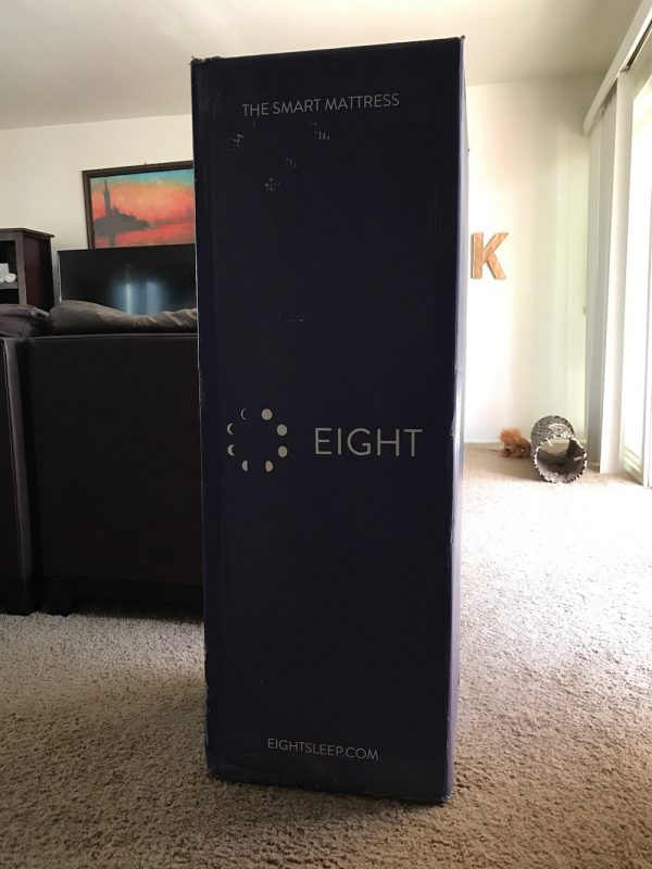 Eight Mattress review. Here is the box the mattress is shipped right to your door in.