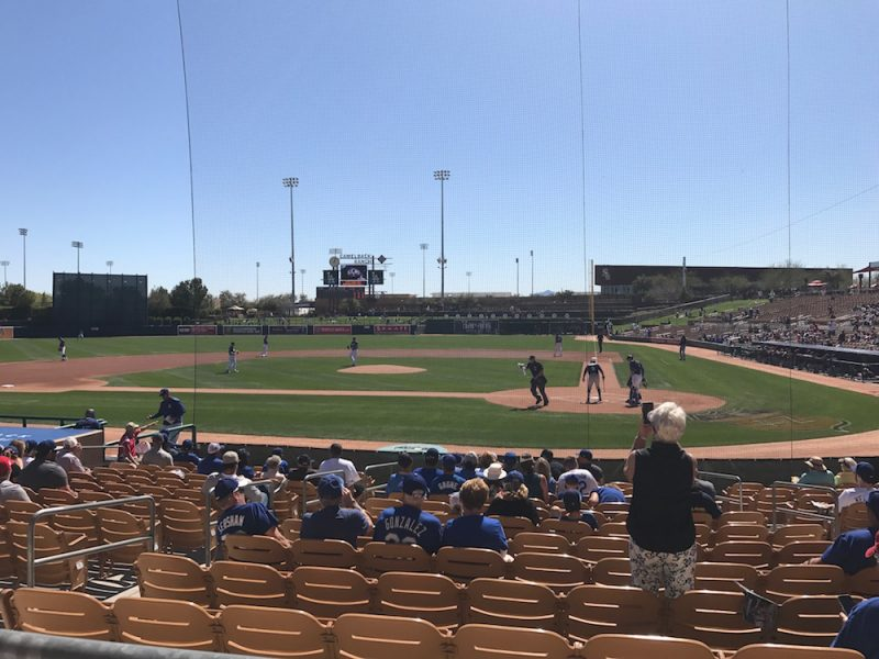 Seats a few rows up from home plate during Dodgers spring training at Camelback Ranch in Arizona