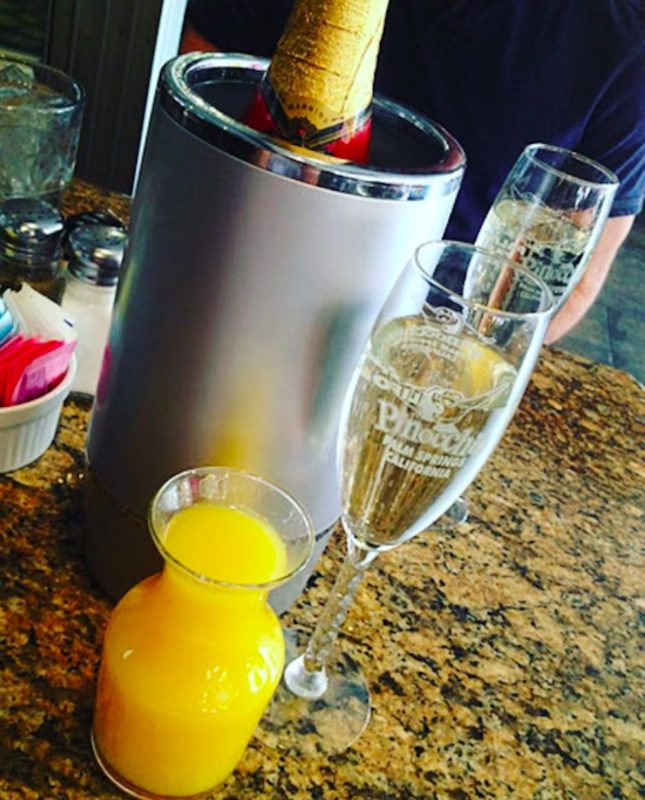 Mimosas served at Pinocchio's Palm Springs during brunch
