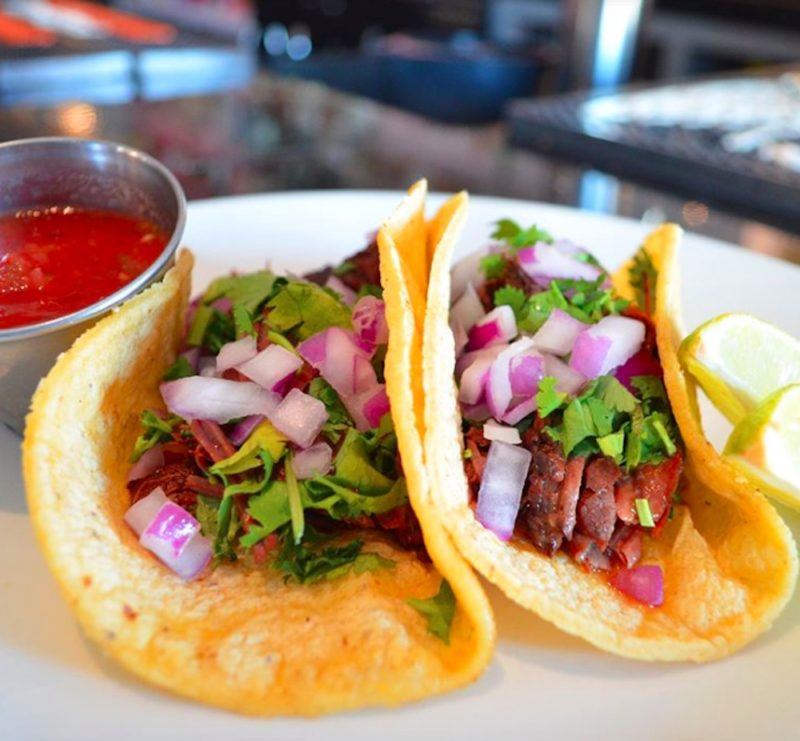 A couple of tacos served during Happy Hour at Trio Restaurant and Bar in Palm Springs