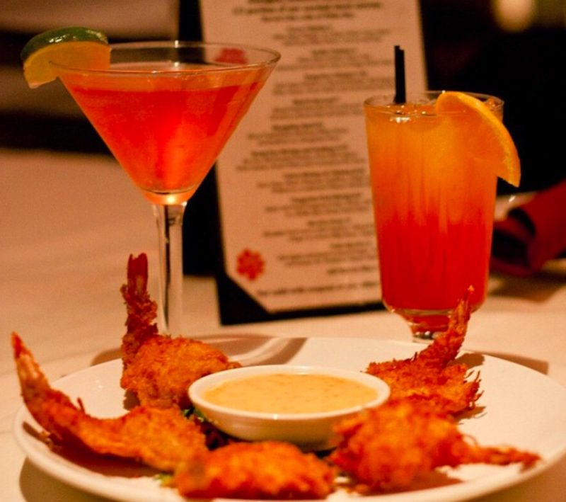 Two cocktails and a shrimp appetizer at Wang's restaurant and bar in downtown Palm Springs