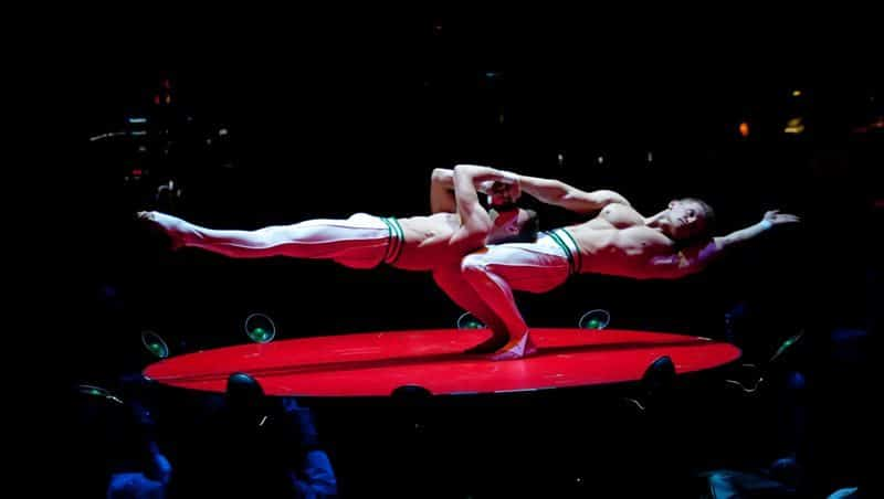 An incredible show of strength during a performance of Absinthe in Las Vegas