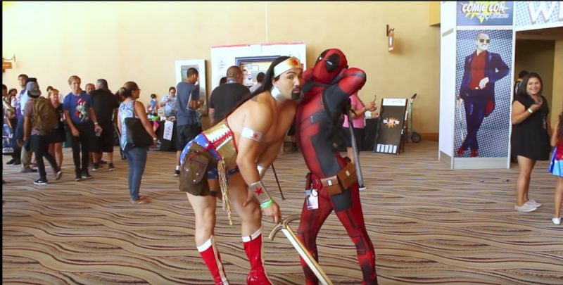 Wonder woman and Deadpool hangout at Comic Con Palm Springs that takes place in August in Palm Springs
