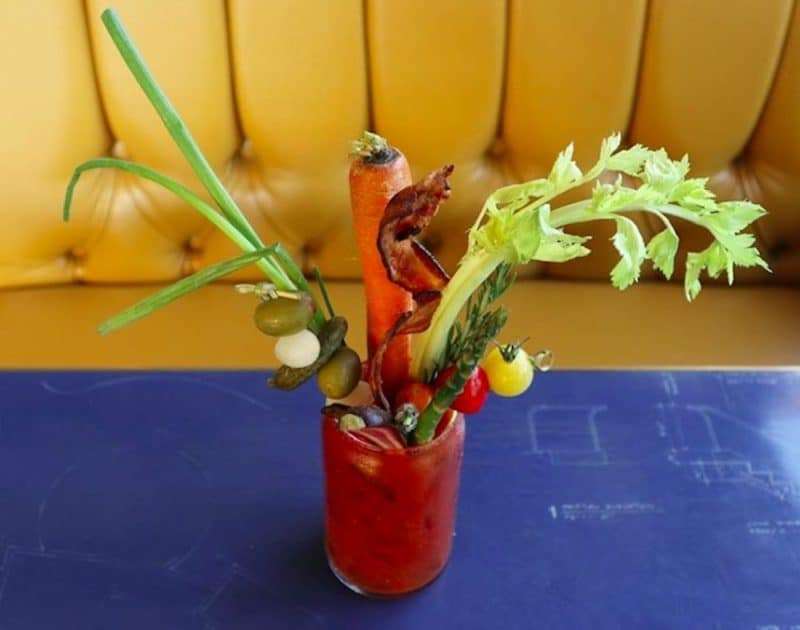 A Bloody Mary from the Bloody Mary bar at Draughtsman in Palm Springs