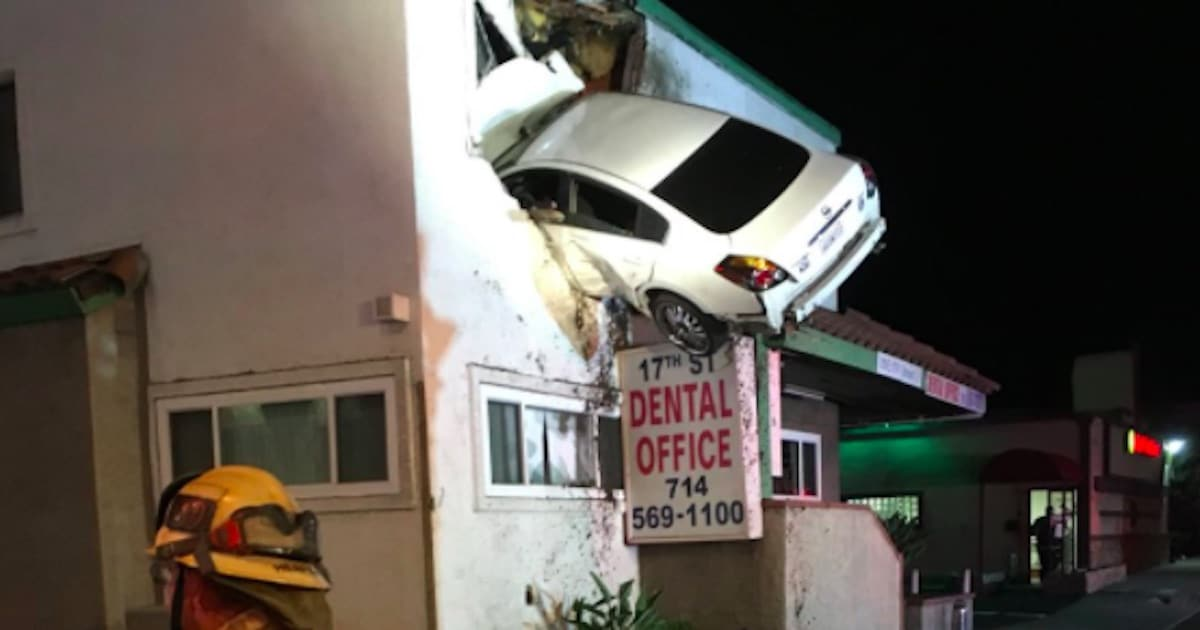 2 injured after car goes airborne lands in second floor for How to build a 2nd story floor