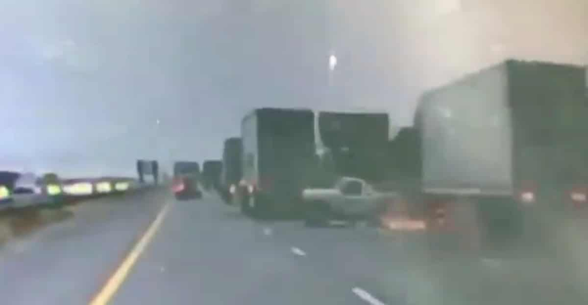 Dramatic video shows big rig colliding with pickup on 10 Freeway