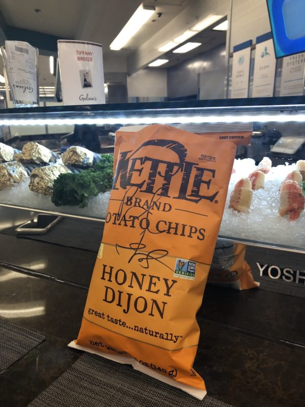 Gelson's Rancho Mirage grocery store bag of chips at the bar