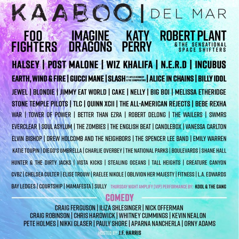 KABOO DEL MAR 2018 LINEUP FOR THE FESTIVAL