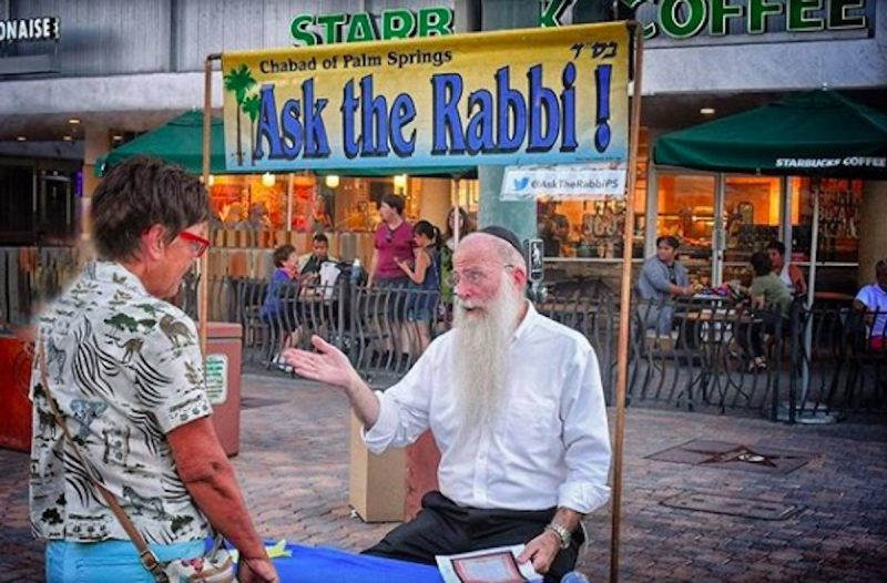 Ask the Rabbi - a booth at the Palm Springs VillageFest Street Fair
