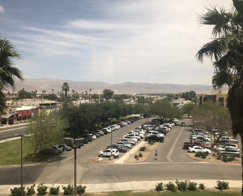 Parking lot at the Larson Justice Center in Indio as seen from the second story