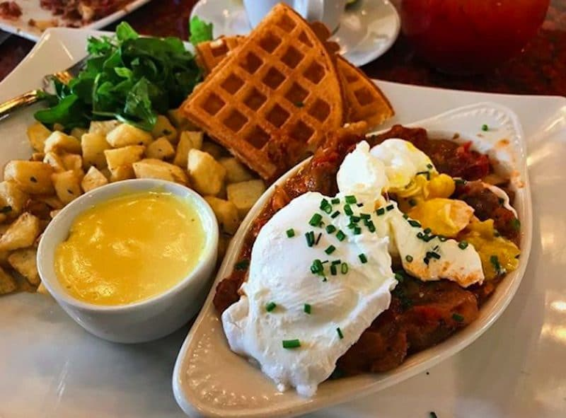 Belgium Waffles Benedict from Si Bon Restaurant in Palm Desert