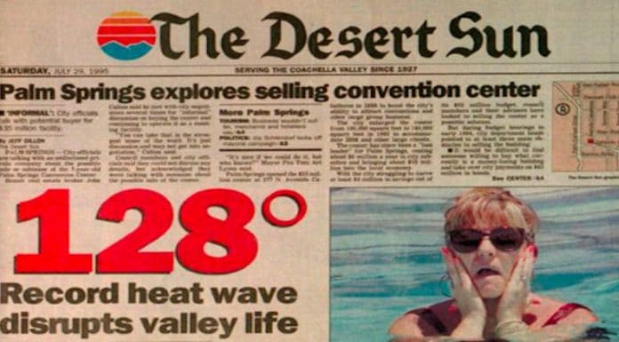 A headline from the Desert Sun proclaiming that Palm Springs reached 128 degrees, which it did not