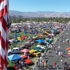 On Overhead shot of the Dr. George Car Show