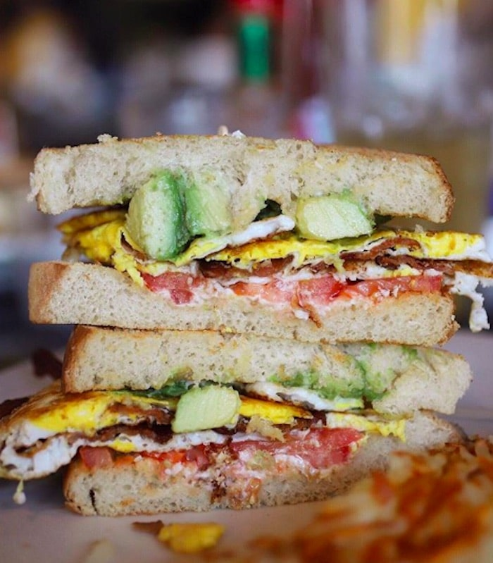 A breakfast sandwich served at Louis's Pantry in Palm Desert