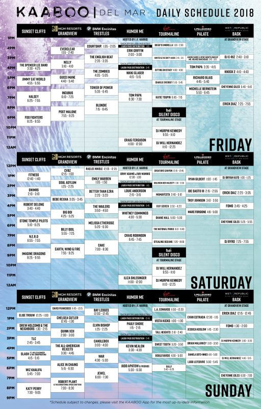 KAABOO Daily Schedule